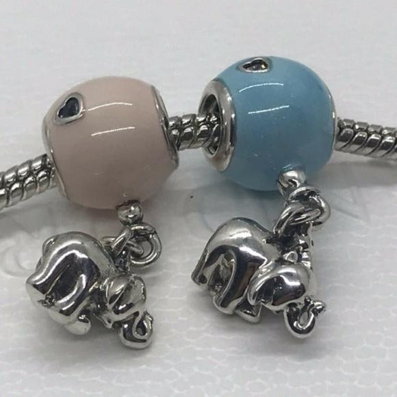 2 Pandora Charms Elephant and Pink&Blue Balloon